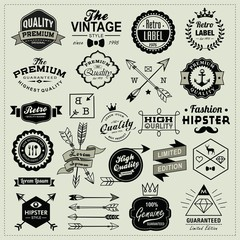 Collection of vintage labels, arrows and design elements