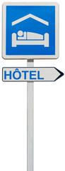panneau enseigne direction hôtel