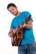 Guitar player on white background