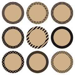 Round Label Retro Pattern Beige/Black