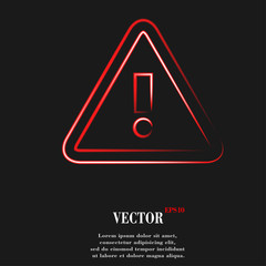 danger. exclamation mark.  Flat modern web button and space for
