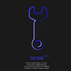 Wrench. tool to work. Flat modern web button and space for your