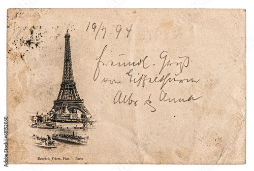 vintage postcard with Eiffel Tower in Paris, France Poster