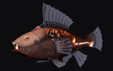 Steampunk Fish on Black Background