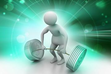 3d man lifting weights