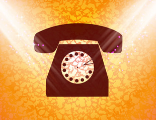 Retro telephone. Flat modern web button and space for your text
