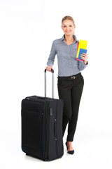 beautiful girl standing with black luggage.