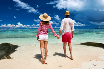 Couple on a beach at Seychelles