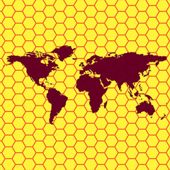 World map web icon, flat design