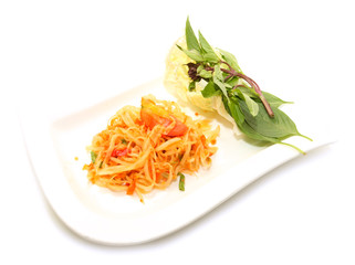 green papaya salad  spicy isolated on white background