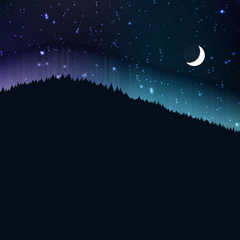 Starry night with moon, landscape background