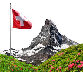 Matterhorn with Swiss flag on white background