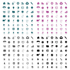Icons set business - only color, vector