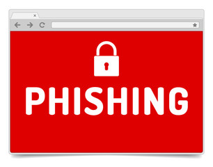 Phishing alert on opened internet browser window with shadow