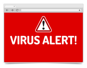 Virus alert on opened internet browser window with shadow.