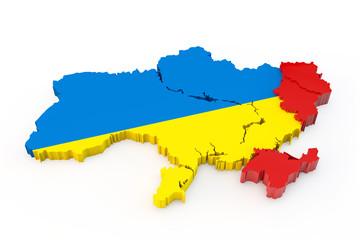 Ukraine map Donetsk, Luhansk and Crimea