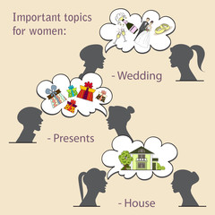Vector illustration with topics for women