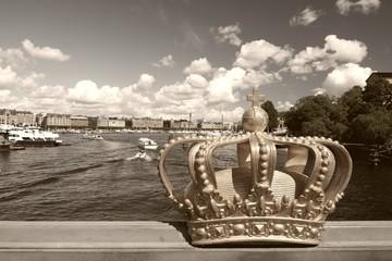 Stockholm, Sweden. Sepia tone image.