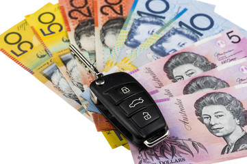 Australischer Dollar mit PKW Schlüssel
