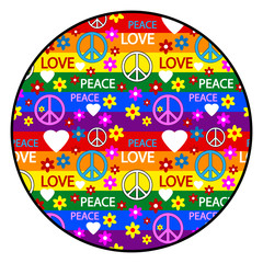Button with symbols of the hippie