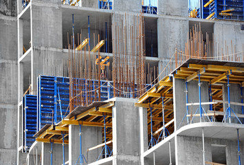 Concrete formwork and floor beams on construction site