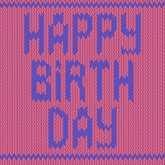 Happy birthday knitted on a pink background