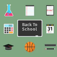 Back to school flat concept set