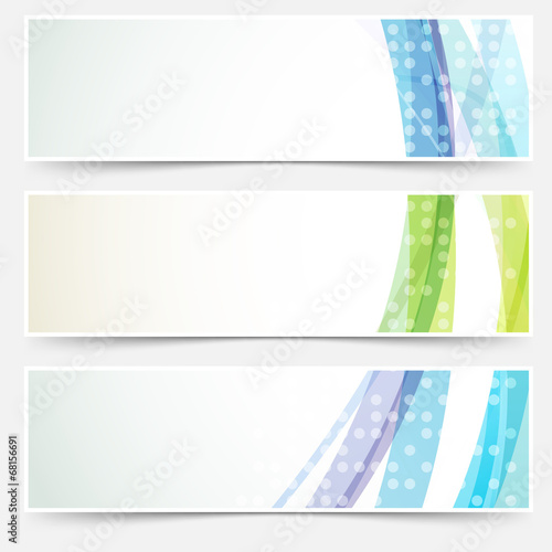 Bright abstract cards headers footers set