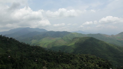 View over cable car from mountain in Vietnam