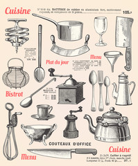 Kitchen background with french text