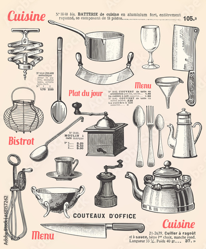 Kitchen background with french text - 68157262