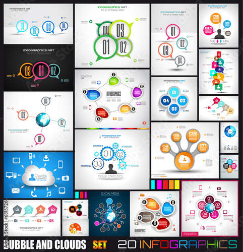 Collection of 20 Infographics with bubbles and clouds