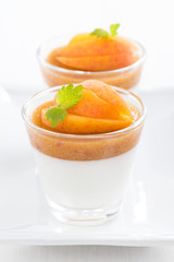 dessert with cream and apricot jelly, close-up