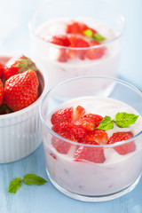healthy breakfast with yogurt and strawberry