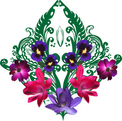 green design with dark flowers on white