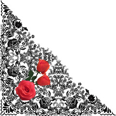 black decoration and three red roses
