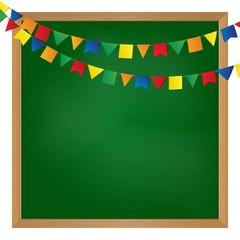 Vector illustrated flag garland on blackboard