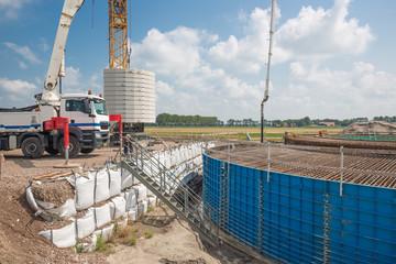 Construction site of foundation Dutch wind turbine