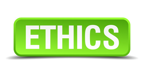 Ethics green 3d realistic square isolated button
