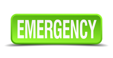 Emergency green 3d realistic square isolated button
