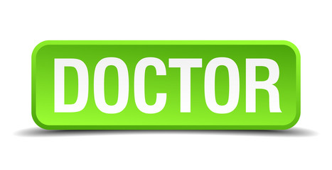 Doctor green 3d realistic square isolated button
