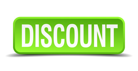 Discount green 3d realistic square isolated button
