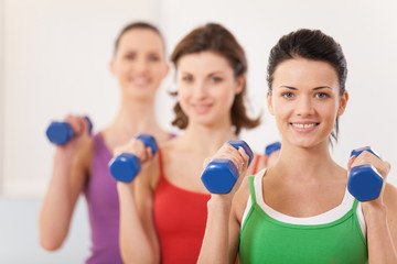Aerobics class of diverse women of different ages.
