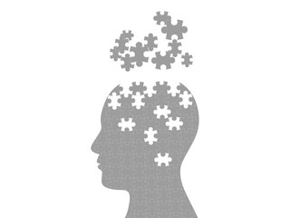 Puzzle head exploding mind graphic template