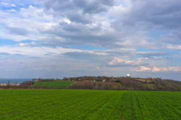 Agricultural fields near Danube river in early spring