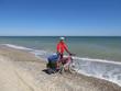 Cyclist on the beach.