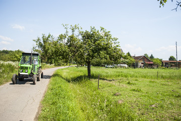 Rural scene - tractor on the road