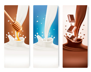 Set of milk, honey and chocolate banners. Vector.