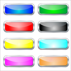 Set of colorfull glossy glass web buttons  in metal frame