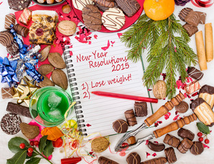 Christmas food, feast and new year resolution to diet